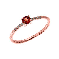 Rose Gold Dainty Solitaire Garnet and Diamond Rope Design Engagement/Proposal/Stackable Ring