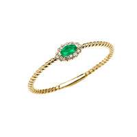 Yellow Gold Dainty Halo Diamond and Marquise Emerald Solitaire Rope Design Promise/Stackable Ring