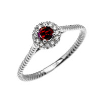 White Gold Dainty Halo Diamond and Garnet Solitaire Rope Design Promise Ring