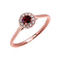 Rose Gold Dainty Halo Diamond and Garnet Solitaire Rope Design Promise/Stackable Ring