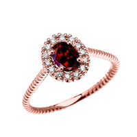 Rose Gold Dainty Halo Diamond and Oval Garnet Solitaire Rope Design Engagement/Promise Ring