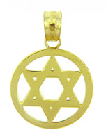 14k Yellow Gold Centered Jewish Star of David Charm Pendant