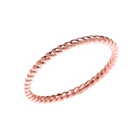 Rose Gold Dainty Stackable Rope Design Ring