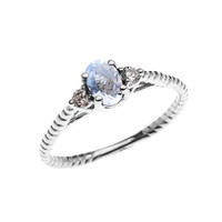 Dainty White Gold Aquamarine Solitaire Rope Design Engagement/Promise Ring