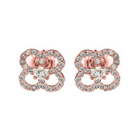 Rose Gold Elegant 4 Leaf Clover Diamond Stud Earrings