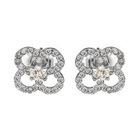 White Gold Elegant 4 Leaf Clover Diamond Stud Earrings