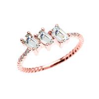 Dainty Rose Gold Three Stone Emerald Cut Aquamarine and Diamond Rope Design Engagement/Promise Ring