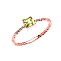 Dainty Rose Gold Solitaire Princess Cut Peridot and Diamond Rope Design Engagement/Promise Ring