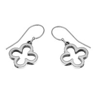 Sterling Silver Four Leaf Clover Dangling Earrings