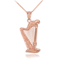 Rose Gold Harp Pendant Necklace