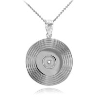 Sterling Silver Vinyl Disc Music Recoring Pendant Necklace