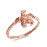 Rose Gold Textured Starfish Beaded Ring