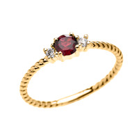 Yellow Gold Dainty Solitaire Garnet and White Topaz Rope Design Promise/Stackable Ring