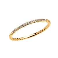 Dainty Yellow Gold Diamond Stackable Rope Design Ring
