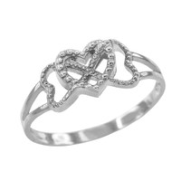 Sterling Silver Textured Infinity Heart Ring