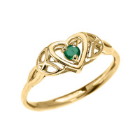 Trinity Knot Heart Solitaire Emerald Yellow Gold Proposal Ring