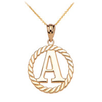 """Yellow Gold """"A"""" Initial in Rope Circle Pendant Necklace"""