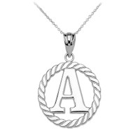 """White Gold """"A"""" Initial in Rope Circle Pendant Necklace"""