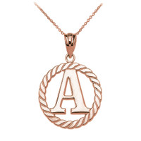 """Rose Gold """"A"""" Initial in Rope Circle Pendant Necklace"""