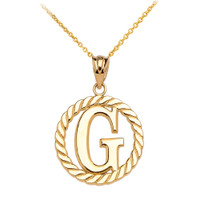 """Yellow Gold """"G"""" Initial in Rope Circle Pendant Necklace"""