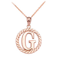 """Rose Gold """"G"""" Initial in Rope Circle Pendant Necklace"""