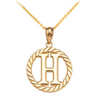 """Yellow Gold """"H"""" Initial in Rope Circle Pendant Necklace"""