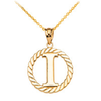 """Yellow Gold """"I"""" Initial in Rope Circle Pendant Necklace"""