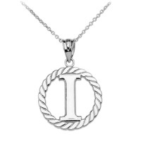 "White Gold ""I"" Initial in Rope Circle Pendant Necklace"