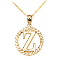 "Yellow Gold ""Z"" Initial in Rope Circle Pendant Necklace"
