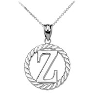 "White Gold ""Z"" Initial in Rope Circle Pendant Necklace"