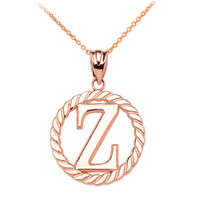 "Rose Gold ""Z"" Initial in Rope Circle Pendant Necklace"