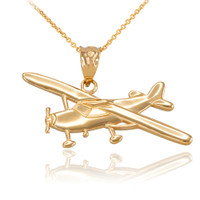 Gold Airplane Pendant Necklace