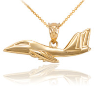 Gold Jet Airplane Pendant Necklace
