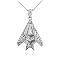 White Gold Military Stealth Pendant Necklace