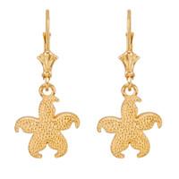 14k Yellow Gold Textured Starfish Earrings