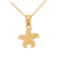 Yellow Gold Textured Starfish Pendant Necklace