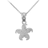Sterling Silver Textured Star Fish Pendant Necklace