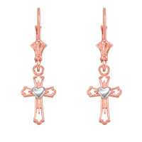 14k Two Tone Rose and Whtie Gold Heart Cross Earrings