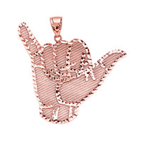 "Rose Gold ""Hang Loose"" Shaka Sign Pendant"