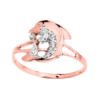 Dainty Rose Gold CZ Dolphin Ring