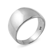 High Polish Sterling Silver 11.4 mm Cigar Ring