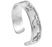 White Gold Heart and Arrows Toe Ring