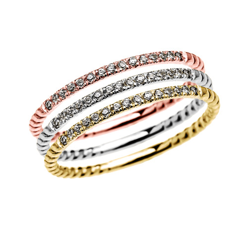 Dainty Tri Color Gold Diamond Stackable Rings With Rope