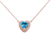 Elegant Rose Gold Diamond and December Birthstone Heart Solitaire Necklace