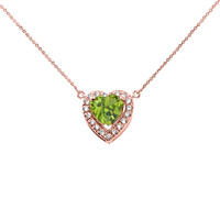 Elegant Rose Gold Diamond and August Birthstone Heart Solitaire Necklace