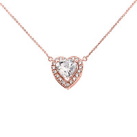 Elegant Rose Gold Diamond and April Birthstone Heart Solitaire Necklace