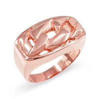 Rose Gold Cuban Link Statement Ring