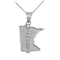Sterling Silver Minnesota State Map Pendant Necklace