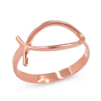 Rose Gold Christian Ichthus Ring
