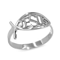 White Gold Christian Ichthus Jesus Ring